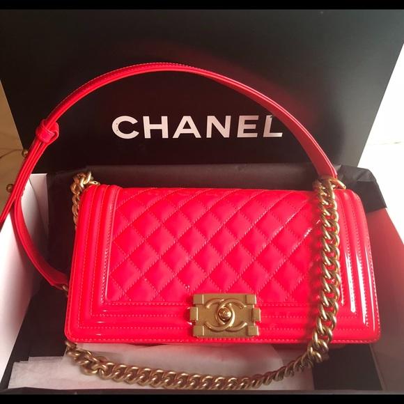 CHANEL Handbags - Chanel Medium Patent Boy Bag